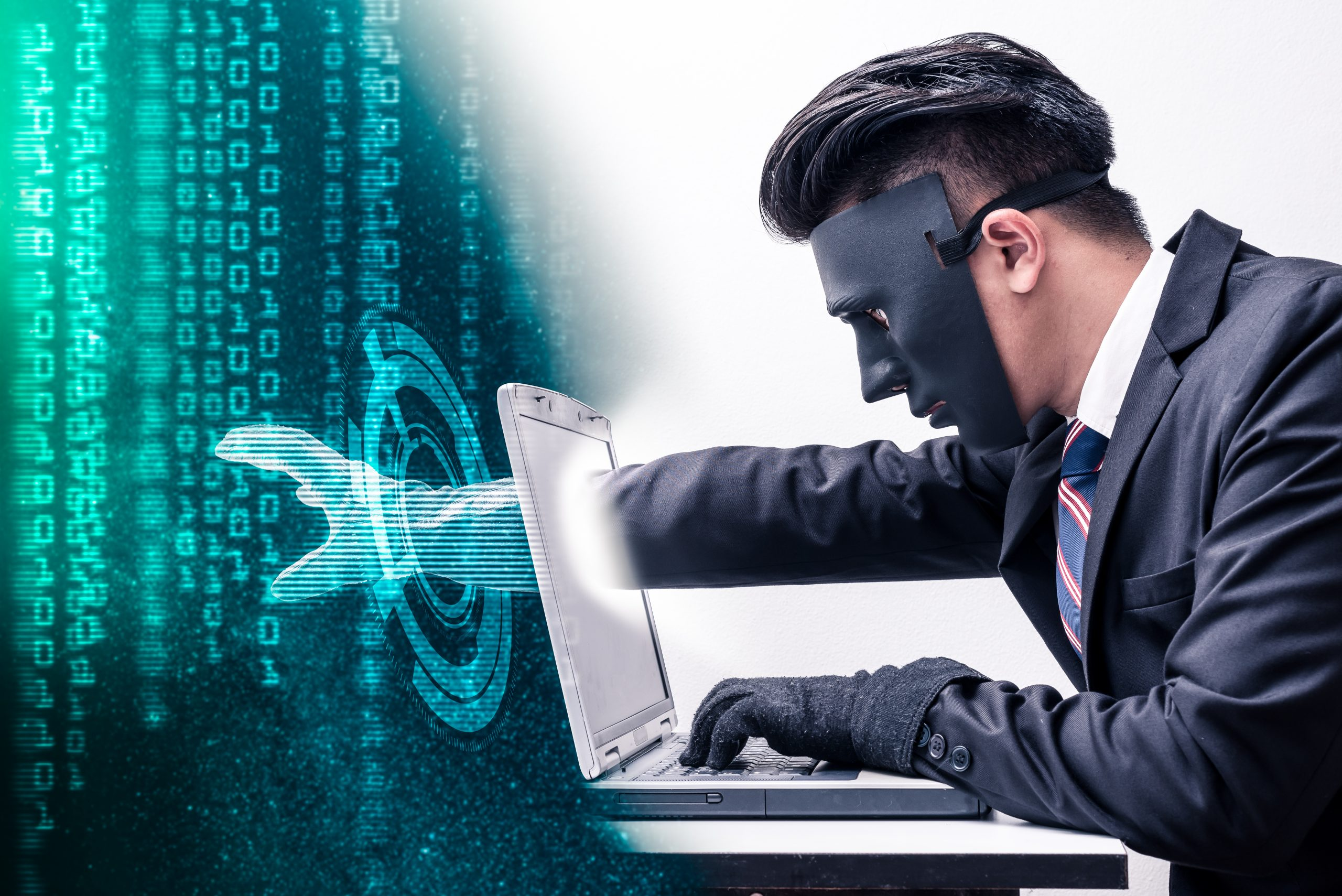 man operating computer - cyber security